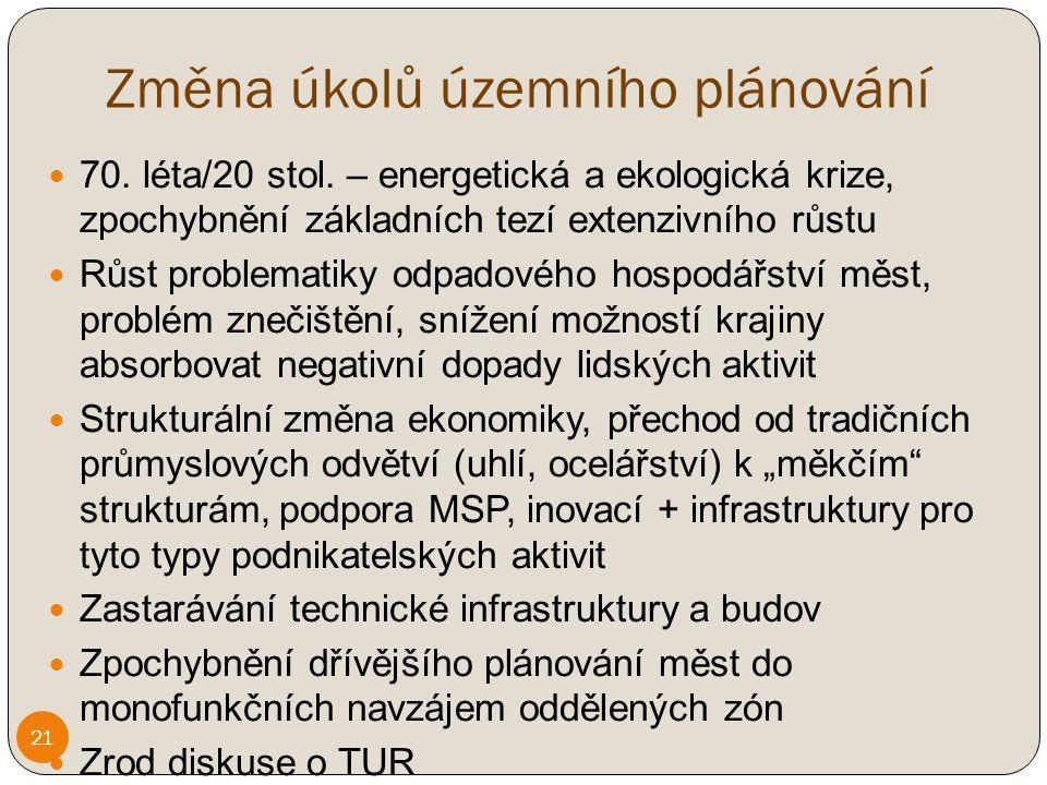 Změna úkolů územního plánování 70.léta/20 stol.