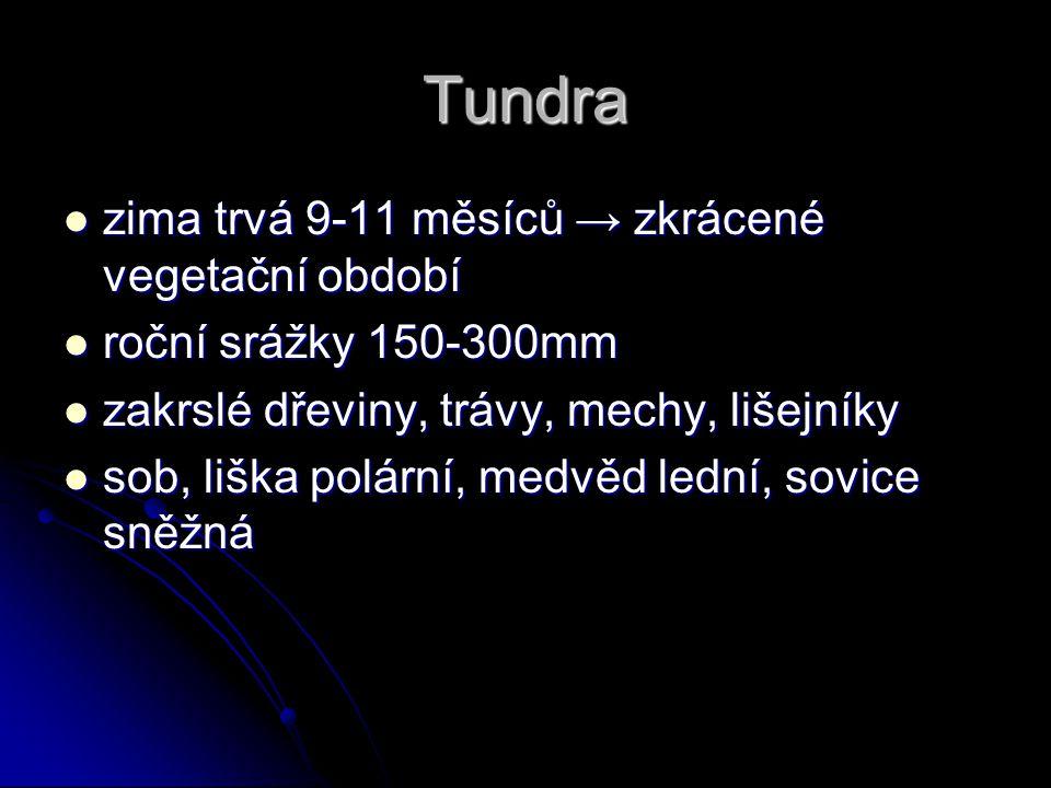Tundra zima trvá 9-11 měsíců → zkrácené vegetační období zima trvá 9-11 měsíců → zkrácené vegetační období roční srážky 150-300mm roční srážky 150-300