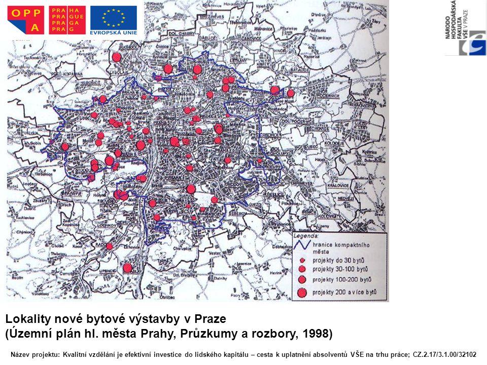 Lokality nové bytové výstavby v Praze (Územní plán hl. města Prahy, Průzkumy a rozbory, 1998) Název projektu: Kvalitní vzdělání je efektivní investice