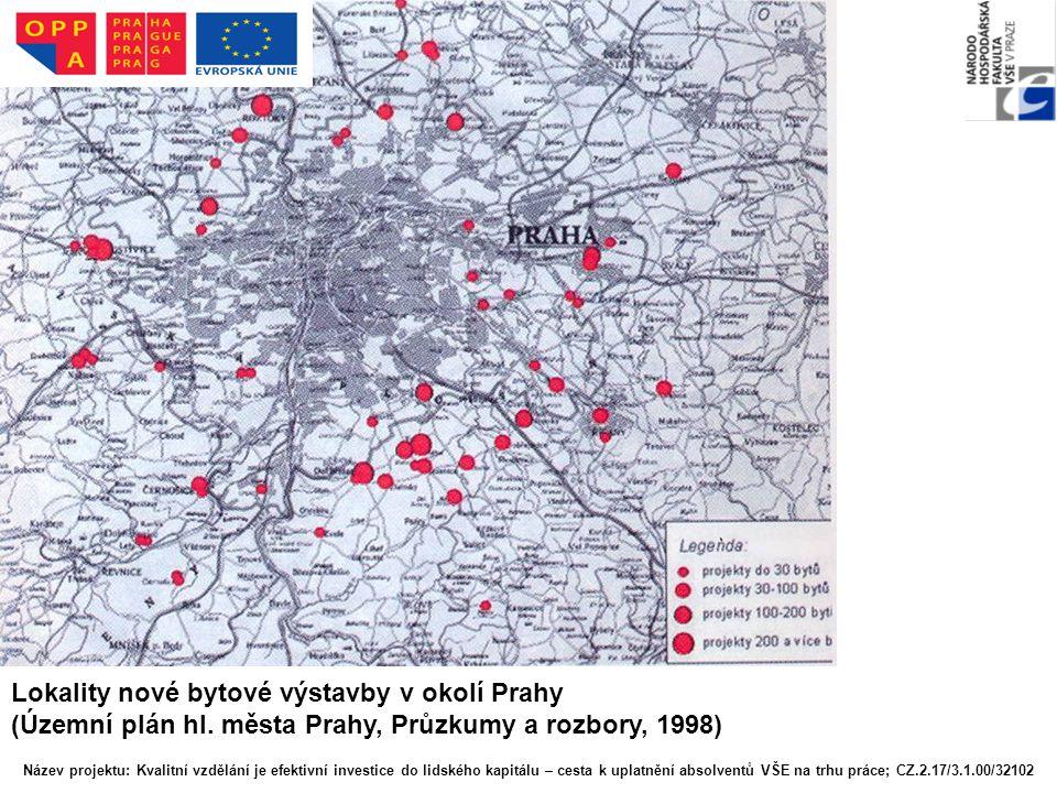 Lokality nové bytové výstavby v okolí Prahy (Územní plán hl. města Prahy, Průzkumy a rozbory, 1998) Název projektu: Kvalitní vzdělání je efektivní inv