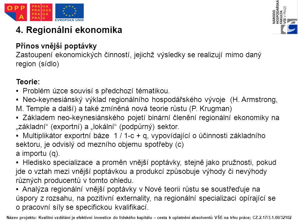 4. Regionální ekonomika Přínos vnější poptávky Zastoupení ekonomických činností, jejichž výsledky se realizují mimo daný region (sídlo) Teorie: ▪ Prob