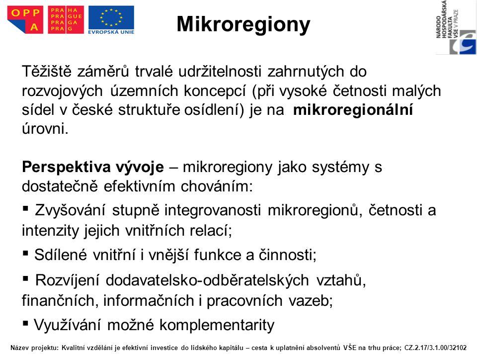 Mikroregiony Těžiště záměrů trvalé udržitelnosti zahrnutých do rozvojových územních koncepcí (při vysoké četnosti malých sídel v české struktuře osídl