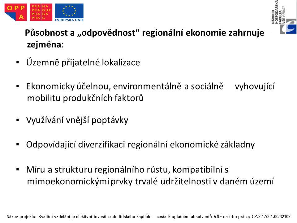 """Působnost a """"odpovědnost"""" regionální ekonomie zahrnuje zejména: ▪ Územně přijatelné lokalizace ▪ Ekonomicky účelnou, environmentálně a sociálně vyhovu"""