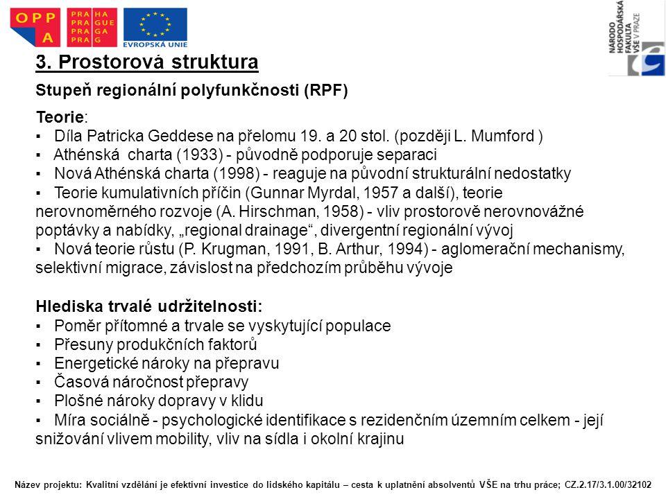 3. Prostorová struktura Stupeň regionální polyfunkčnosti (RPF) Teorie: ▪ Díla Patricka Geddese na přelomu 19. a 20 stol. (později L. Mumford ) ▪ Athén