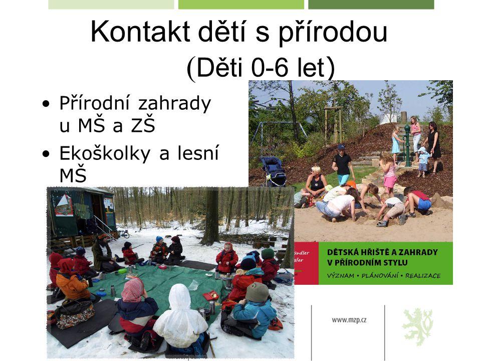 Kontakt dětí s přírodou ( Děti 0-6 let ) Přírodní zahrady u MŠ a ZŠ Ekoškolky a lesní MŠ