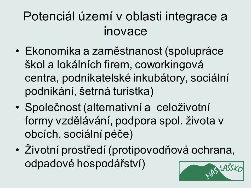 Potenciál území v oblasti integrace a inovace Ekonomika a zaměstnanost (spolupráce škol a lokálních firem, coworkingová centra, podnikatelské inkubáto