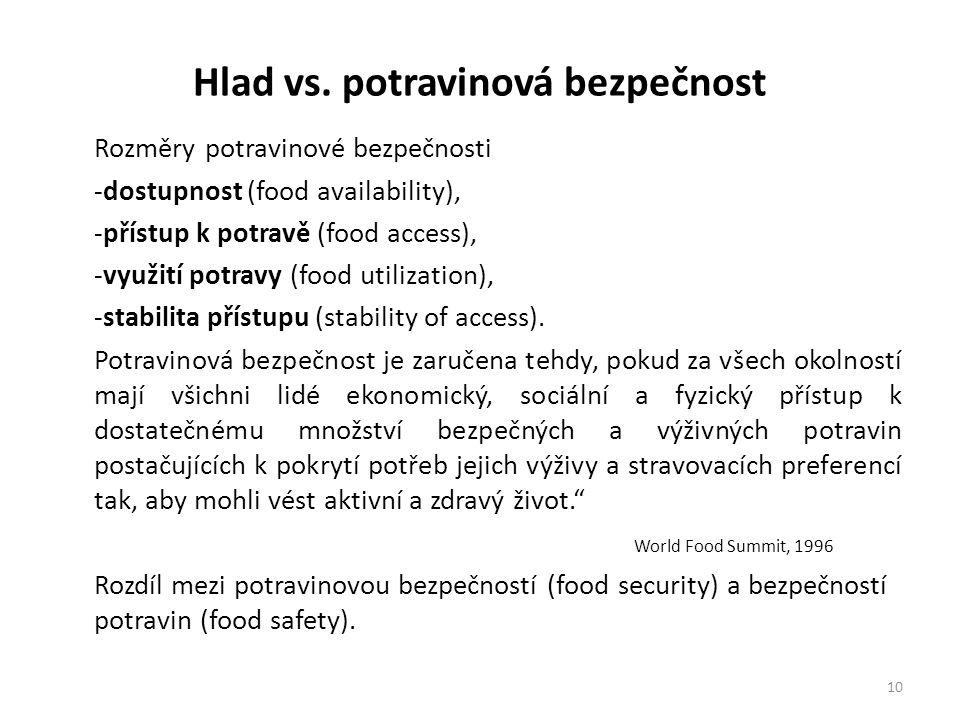 Hlad vs. potravinová bezpečnost Rozměry potravinové bezpečnosti -dostupnost (food availability), -přístup k potravě (food access), -využití potravy (f