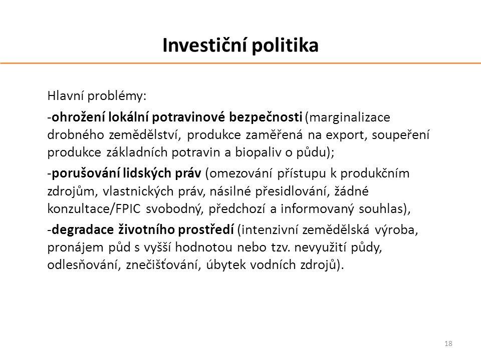 Investiční politika Hlavní problémy: -ohrožení lokální potravinové bezpečnosti (marginalizace drobného zemědělství, produkce zaměřená na export, soupe