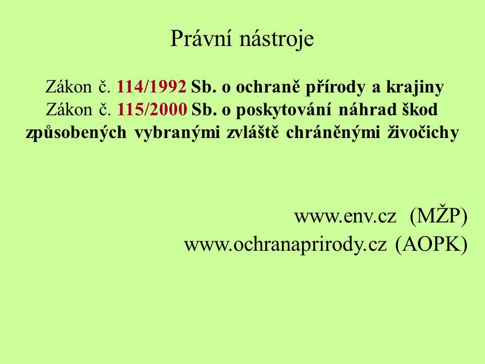 Právní nástroje Zákon č.114/1992 Sb. o ochraně přírody a krajiny Zákon č.