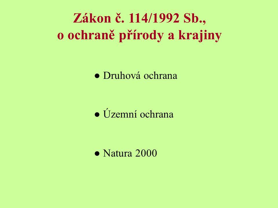Zákon č. 114/1992 Sb., o ochraně přírody a krajiny ● Druhová ochrana ● Územní ochrana ● Natura 2000