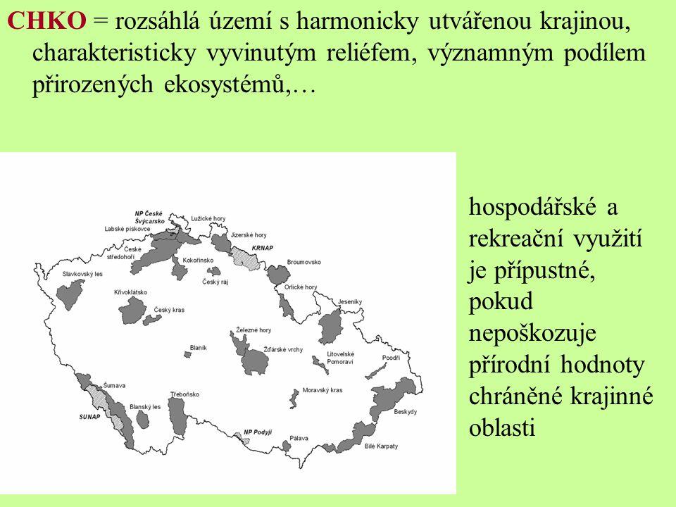 CHKO = rozsáhlá území s harmonicky utvářenou krajinou, charakteristicky vyvinutým reliéfem, významným podílem přirozených ekosystémů,… hospodářské a rekreační využití je přípustné, pokud nepoškozuje přírodní hodnoty chráněné krajinné oblasti