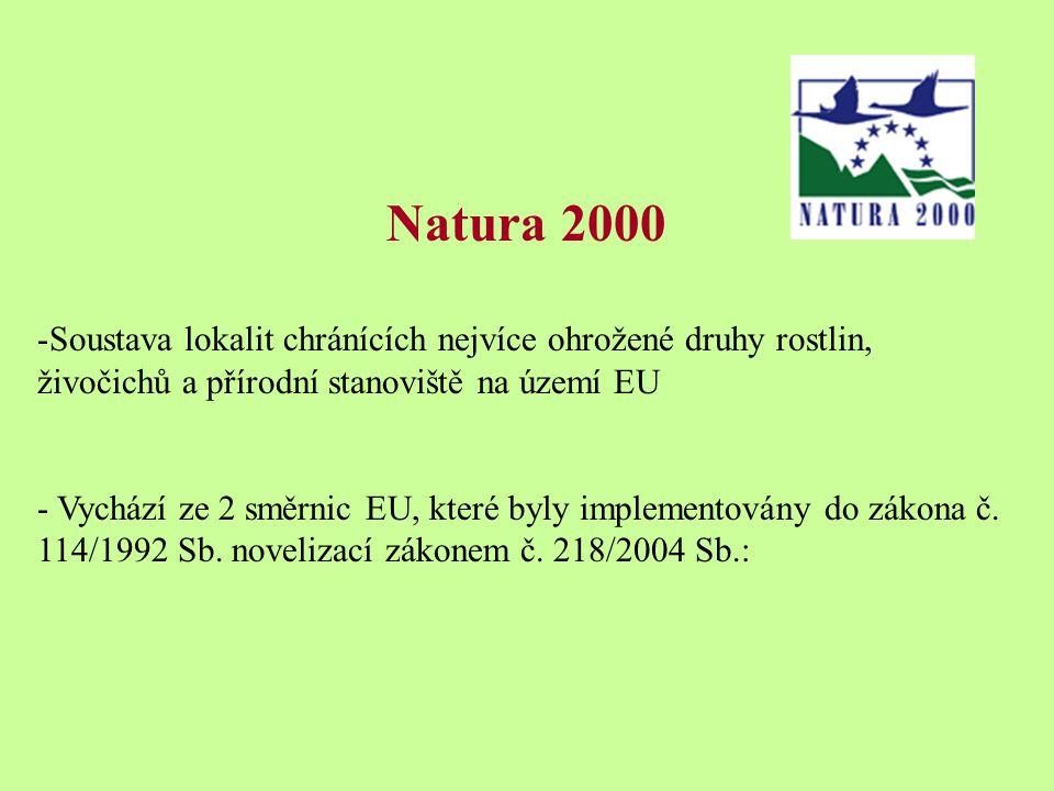 Natura 2000 -Soustava lokalit chránících nejvíce ohrožené druhy rostlin, živočichů a přírodní stanoviště na území EU - Vychází ze 2 směrnic EU, které byly implementovány do zákona č.