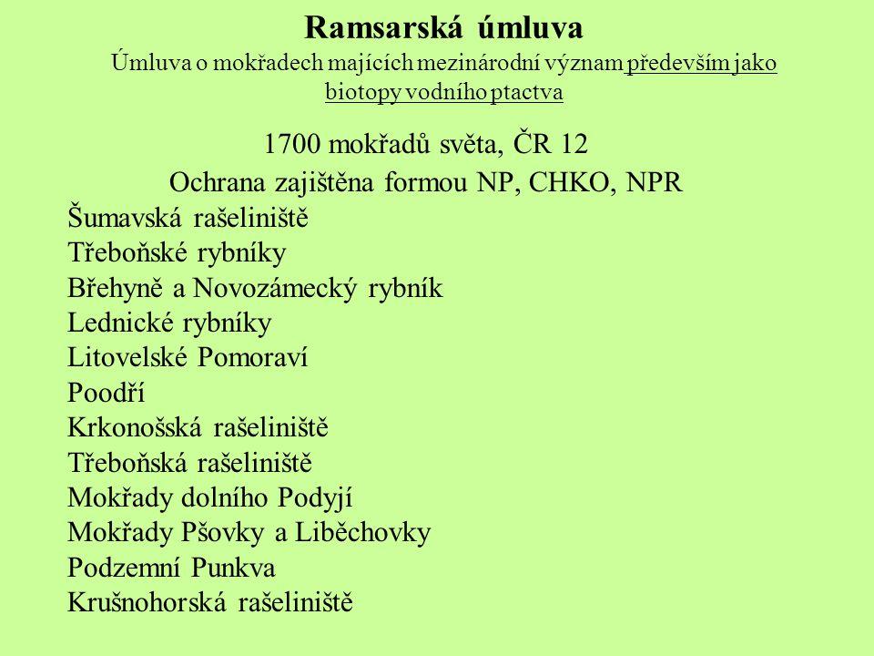 Ramsarská úmluva Úmluva o mokřadech majících mezinárodní význam především jako biotopy vodního ptactva 1700 mokřadů světa, ČR 12 Ochrana zajištěna for