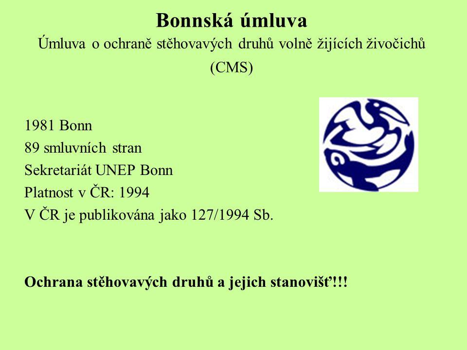 Bonnská úmluva Úmluva o ochraně stěhovavých druhů volně žijících živočichů (CMS) 1981 Bonn 89 smluvních stran Sekretariát UNEP Bonn Platnost v ČR: 1994 V ČR je publikována jako 127/1994 Sb.