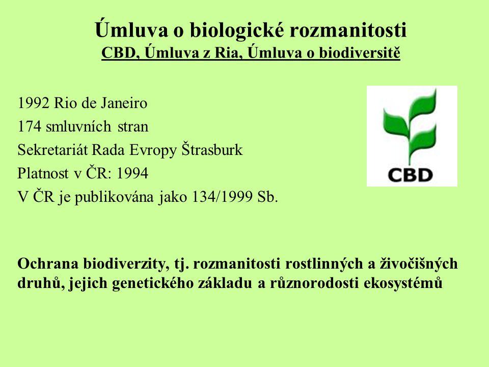 Úmluva o biologické rozmanitosti CBD, Úmluva z Ria, Úmluva o biodiversitě 1992 Rio de Janeiro 174 smluvních stran Sekretariát Rada Evropy Štrasburk Pl