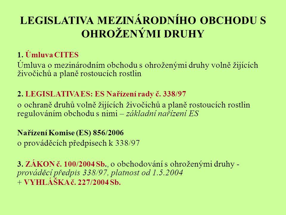 LEGISLATIVA MEZINÁRODNÍHO OBCHODU S OHROŽENÝMI DRUHY 1.