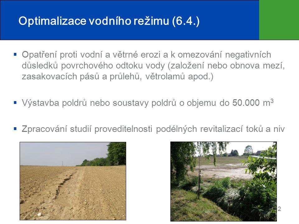 Optimalizace vodního režimu (6.4.)  Opatření proti vodní a větrné erozi a k omezování negativních důsledků povrchového odtoku vody (založení nebo obn