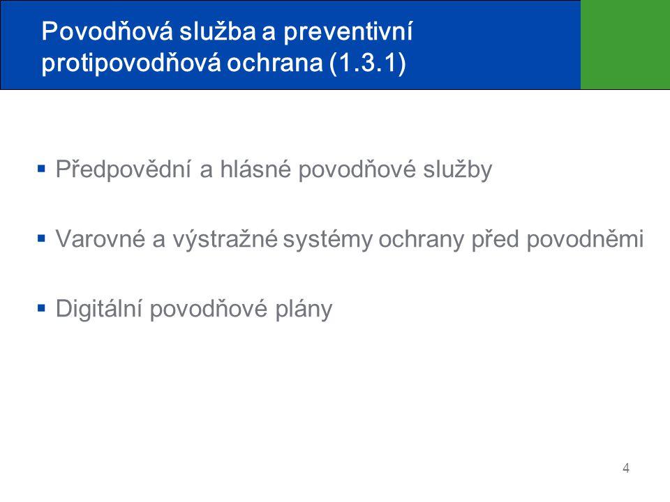 Povodňová služba a preventivní protipovodňová ochrana (1.3.1)  Předpovědní a hlásné povodňové služby  Varovné a výstražné systémy ochrany před povod