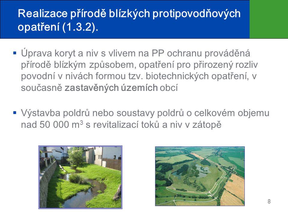 Realizace přírodě blízkých protipovodňových opatření (1.3.2).  Úprava koryt a niv s vlivem na PP ochranu prováděná přírodě blízkým způsobem, opatření