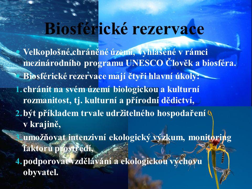 Biosférické rezervace Velkoplošné chráněné území, vyhlášené v rámci mezinárodního programu UNESCO Člověk a biosféra. Biosférické rezervace mají čtyři