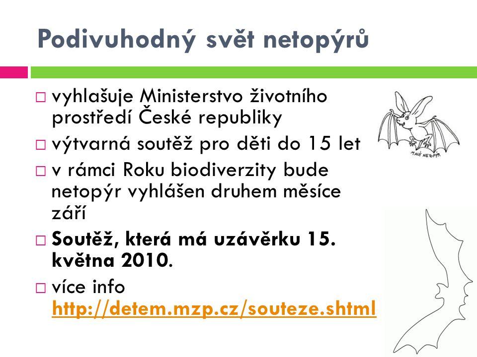 Podivuhodný svět netopýrů  vyhlašuje Ministerstvo životního prostředí České republiky  výtvarná soutěž pro děti do 15 let  v rámci Roku biodiverzit