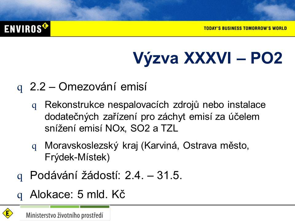 Výzva XXXVI – PO2 q 2.2 – Omezování emisí q Rekonstrukce nespalovacích zdrojů nebo instalace dodatečných zařízení pro záchyt emisí za účelem snížení emisí NOx, SO2 a TZL q Moravskoslezský kraj (Karviná, Ostrava město, Frýdek-Místek) q Podávání žádostí: 2.4.