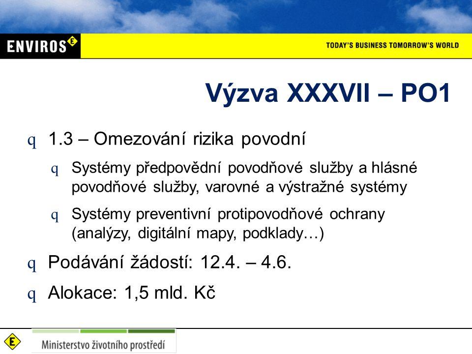 Výzva XXXVII – PO1 q 1.3 – Omezování rizika povodní q Systémy předpovědní povodňové služby a hlásné povodňové služby, varovné a výstražné systémy q Systémy preventivní protipovodňové ochrany (analýzy, digitální mapy, podklady…) q Podávání žádostí: 12.4.