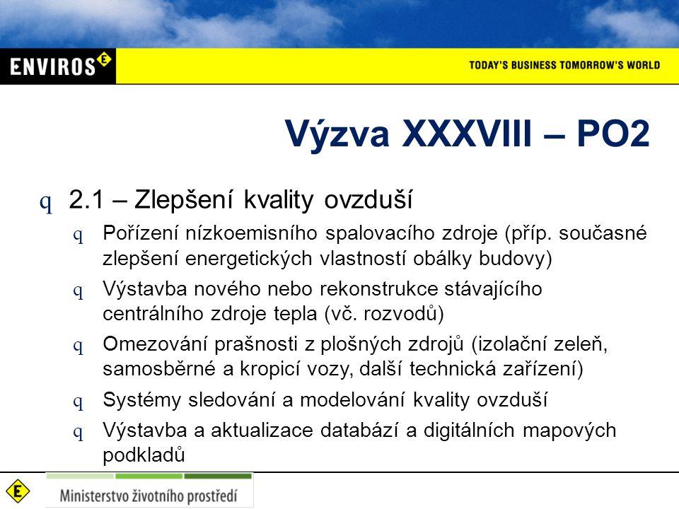 Výzva XXXVIII – PO2 q 2.1 – Zlepšení kvality ovzduší q Pořízení nízkoemisního spalovacího zdroje (příp.