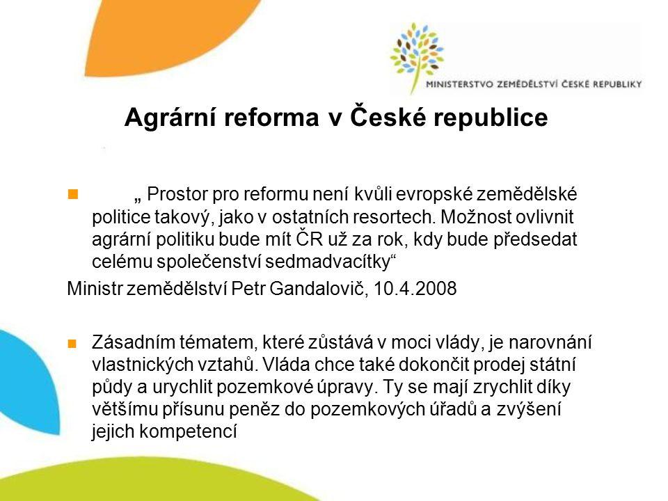 """Agrární reforma v České republice """" Prostor pro reformu není kvůli evropské zemědělské politice takový, jako v ostatních resortech. Možnost ovlivnit a"""