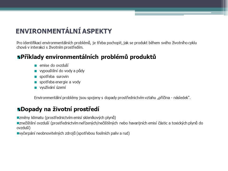 ENVIRONMENTÁLNÍ ASPEKTY Pro identifikaci environmentálních problémů, je třeba pochopit, jak se produkt během svého životního cyklu chová v interakci s životním prostředím.