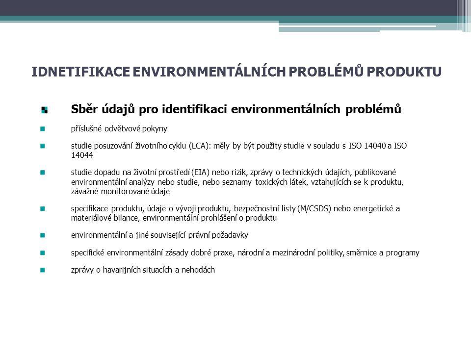 IDNETIFIKACE ENVIRONMENTÁLNÍCH PROBLÉMŮ PRODUKTU Sběr údajů pro identifikaci environmentálních problémů příslušné odvětvové pokyny studie posuzování životního cyklu (LCA): měly by být použity studie v souladu s ISO 14040 a ISO 14044 studie dopadu na životní prostředí (EIA) nebo rizik, zprávy o technických údajích, publikované environmentální analýzy nebo studie, nebo seznamy toxických látek, vztahujících se k produktu, závažné monitorované údaje specifikace produktu, údaje o vývoji produktu, bezpečnostní listy (M/CSDS) nebo energetické a materiálové bilance, environmentální prohlášení o produktu environmentální a jiné související právní požadavky specifické environmentální zásady dobré praxe, národní a mezinárodní politiky, směrnice a programy zprávy o havarijních situacích a nehodách