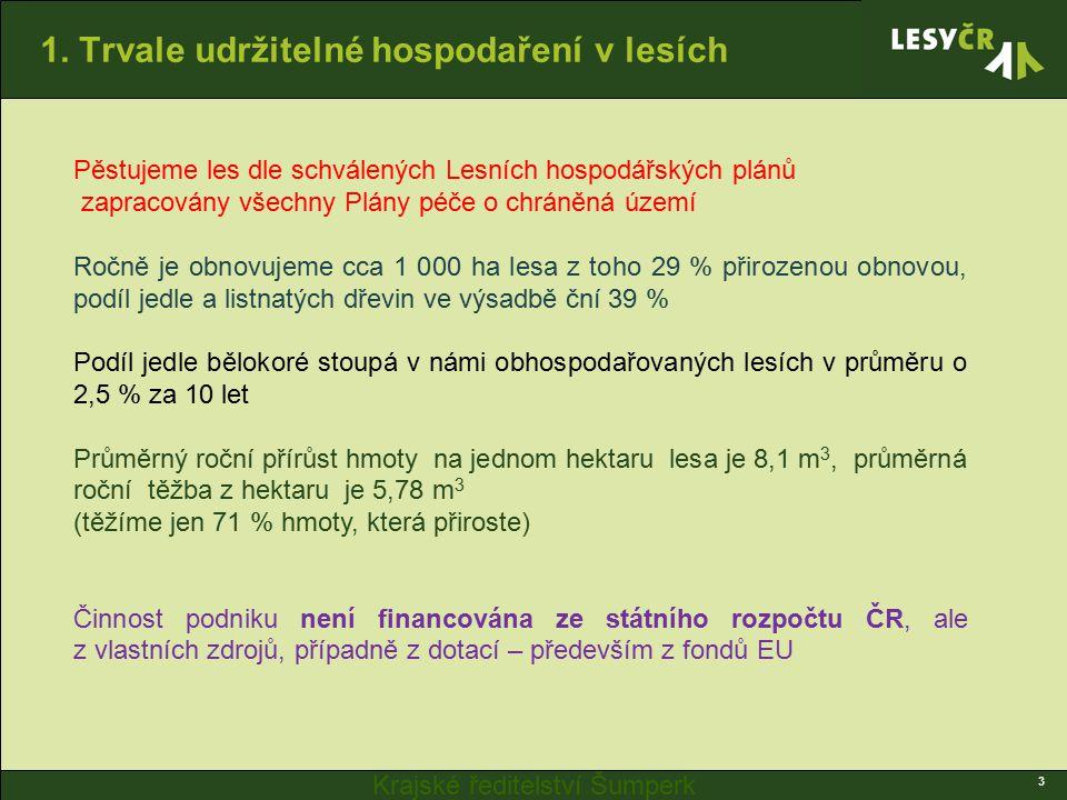 Krajské ředitelství Šumperk 1. Trvale udržitelné hospodaření v lesích 3 Pěstujeme les dle schválených Lesních hospodářských plánů zapracovány všechny