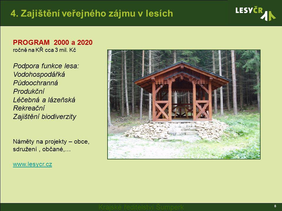 Krajské ředitelství Šumperk 4. Zajištění veřejného zájmu v lesích 8 PROGRAM 2000 a 2020 ročně na KŘ cca 3 mil. Kč Podpora funkce lesa: Vodohospodářká