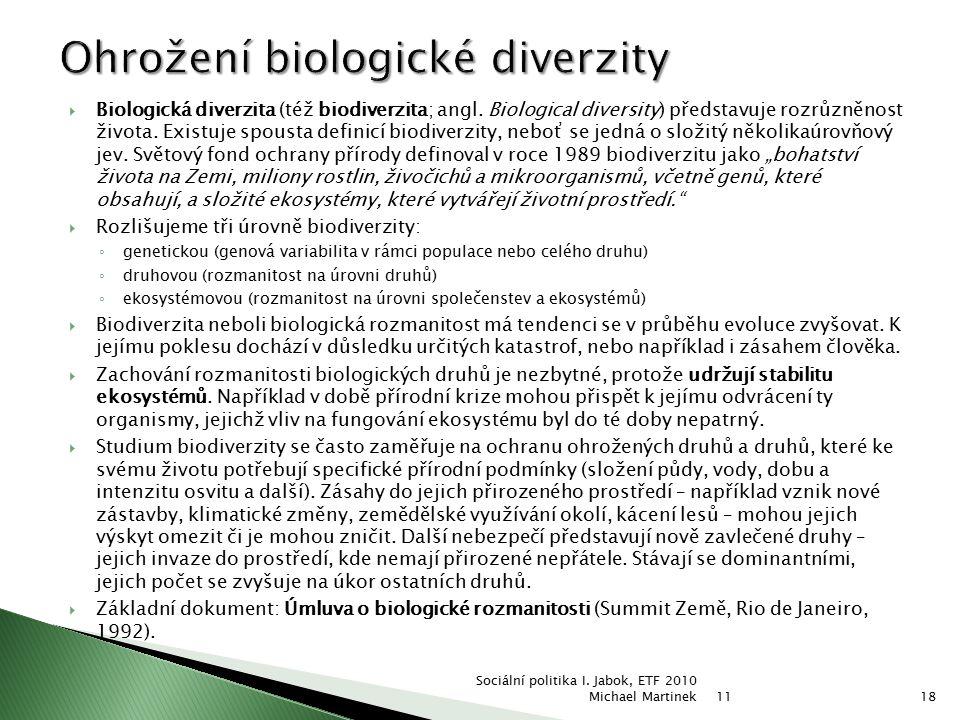  Biologická diverzita (též biodiverzita; angl. Biological diversity) představuje rozrůzněnost života. Existuje spousta definicí biodiverzity, neboť s