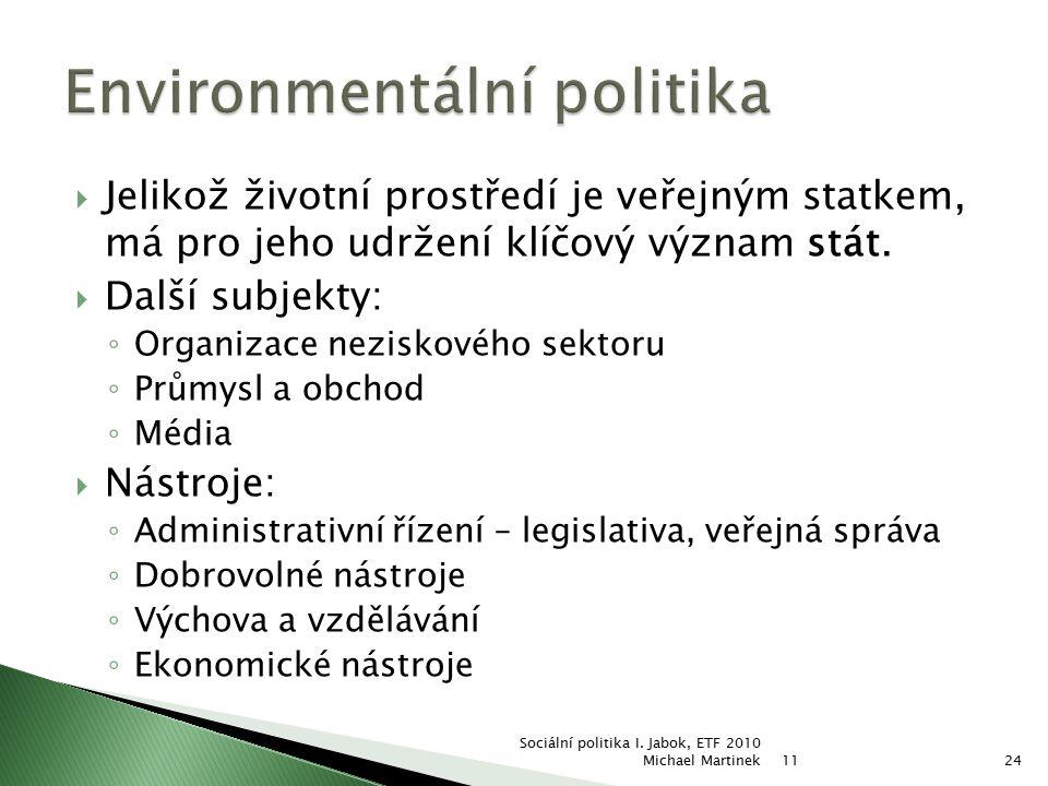  Jelikož životní prostředí je veřejným statkem, má pro jeho udržení klíčový význam stát.  Další subjekty: ◦ Organizace neziskového sektoru ◦ Průmysl