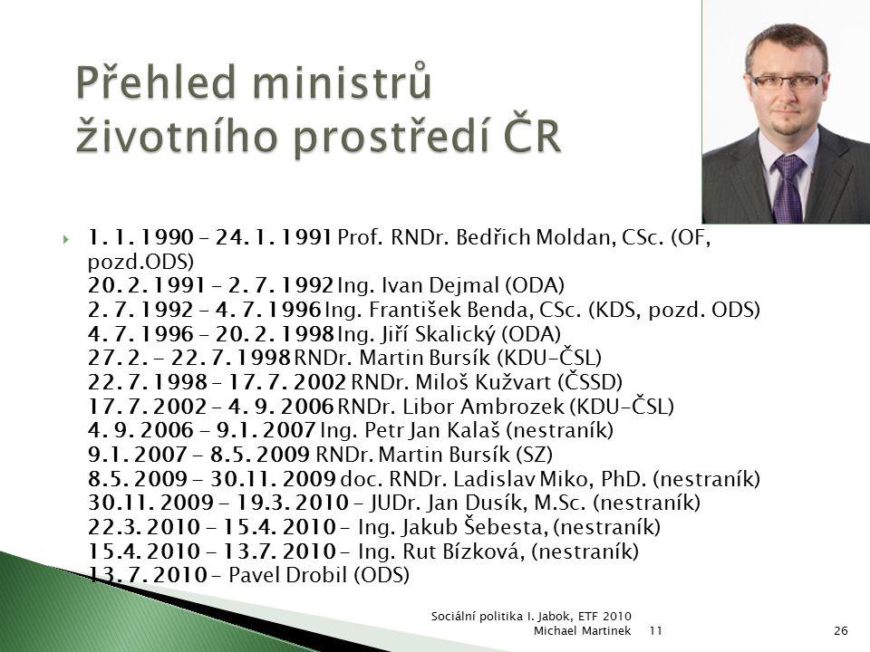  1. 1. 1990 – 24. 1. 1991 Prof. RNDr. Bedřich Moldan, CSc. (OF, pozd.ODS) 20. 2. 1991 – 2. 7. 1992 Ing. Ivan Dejmal (ODA) 2. 7. 1992 – 4. 7. 1996 Ing