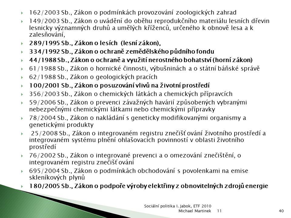  162/2003 Sb., Zákon o podmínkách provozování zoologických zahrad  149/2003 Sb., Zákon o uvádění do oběhu reprodukčního materiálu lesních dřevin les