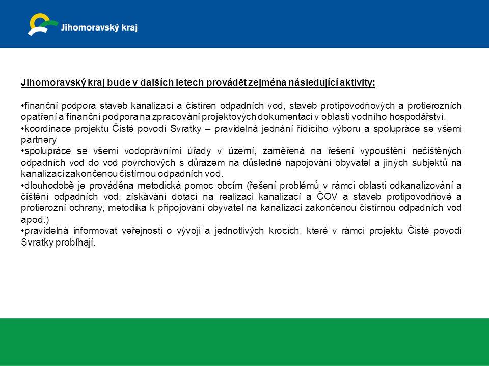 Jihomoravský kraj bude v dalších letech provádět zejména následující aktivity: finanční podpora staveb kanalizací a čistíren odpadních vod, staveb protipovodňových a protierozních opatření a finanční podpora na zpracování projektových dokumentací v oblasti vodního hospodářství.