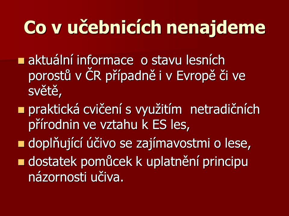 Co v učebnicích nenajdeme aktuální informace o stavu lesních porostů v ČR případně i v Evropě či ve světě, aktuální informace o stavu lesních porostů v ČR případně i v Evropě či ve světě, praktická cvičení s využitím netradičních přírodnin ve vztahu k ES les, praktická cvičení s využitím netradičních přírodnin ve vztahu k ES les, doplňující účivo se zajímavostmi o lese, doplňující účivo se zajímavostmi o lese, dostatek pomůcek k uplatnění principu názornosti učiva.