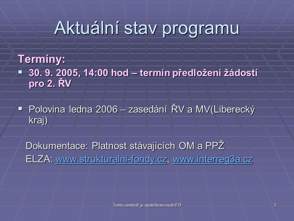2 Aktuální stav programu Termíny:  30. 9. 2005, 14:00 hod – termín předložení žádostí pro 2.