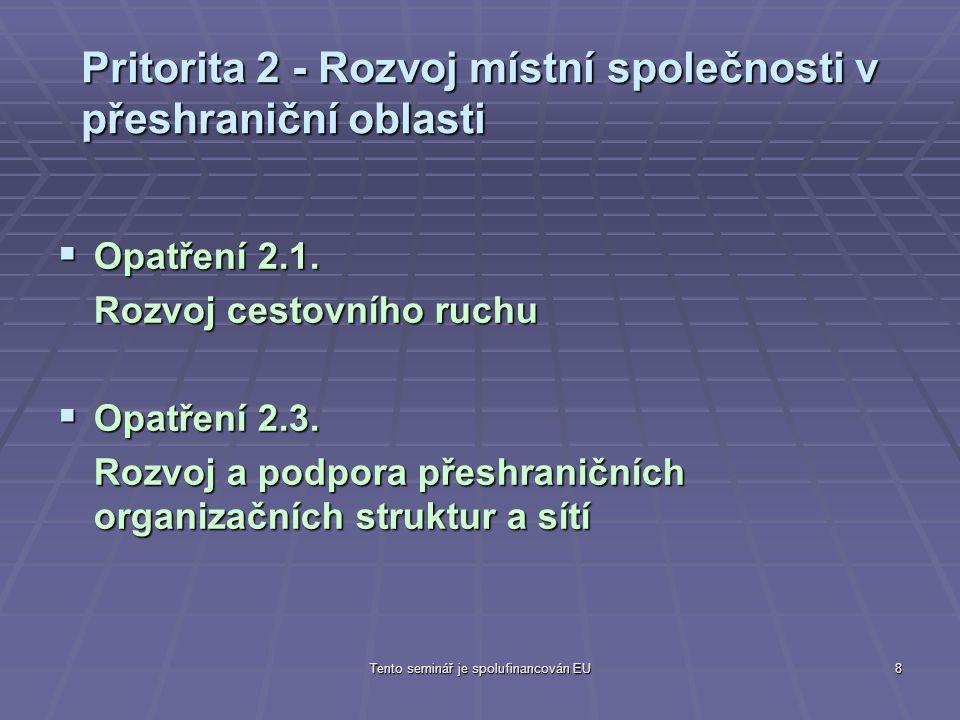 Tento seminář je spolufinancován EU8 Pritorita 2 - Rozvoj místní společnosti v přeshraniční oblasti  Opatření 2.1.
