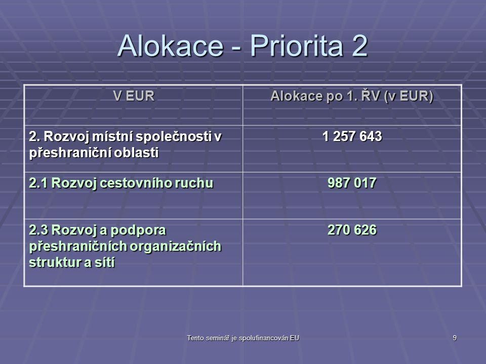 Tento seminář je spolufinancován EU9 Alokace - Priorita 2 V EUR Alokace po 1.