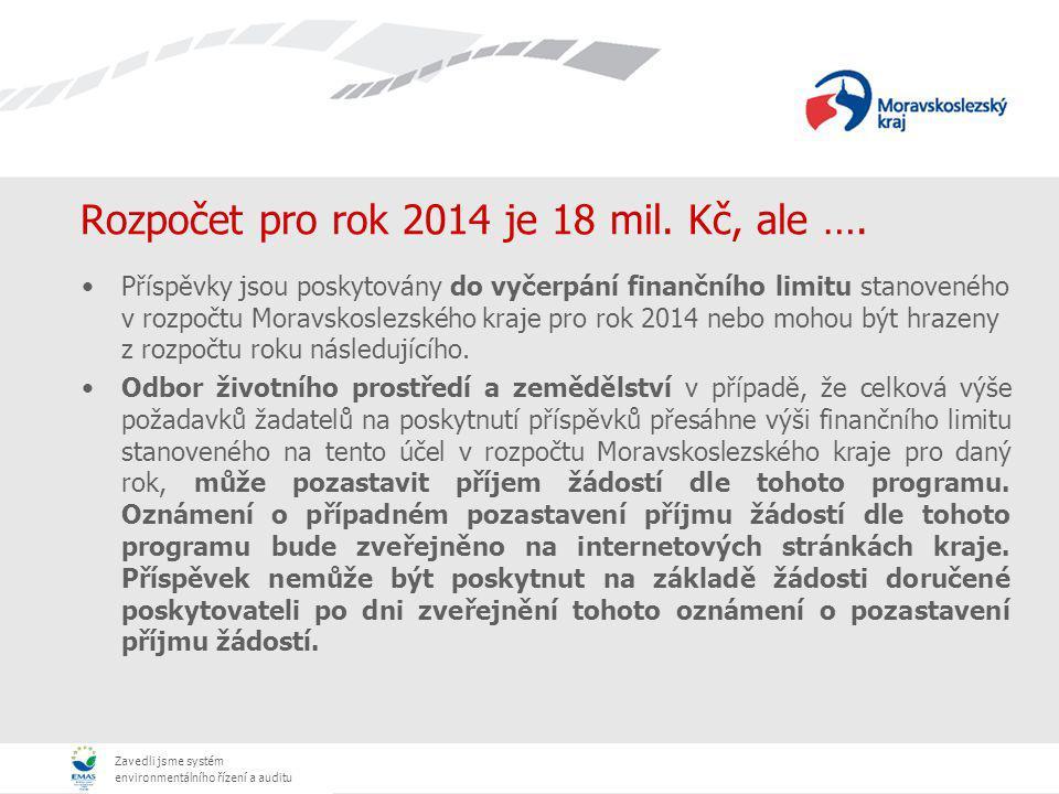 Zavedli jsme systém environmentálního řízení a auditu Rozpočet pro rok 2014 je 18 mil. Kč, ale …. Příspěvky jsou poskytovány do vyčerpání finančního l