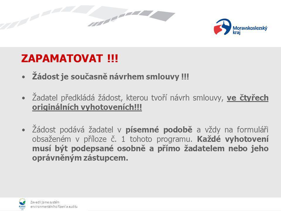 Zavedli jsme systém environmentálního řízení a auditu ZAPAMATOVAT !!.
