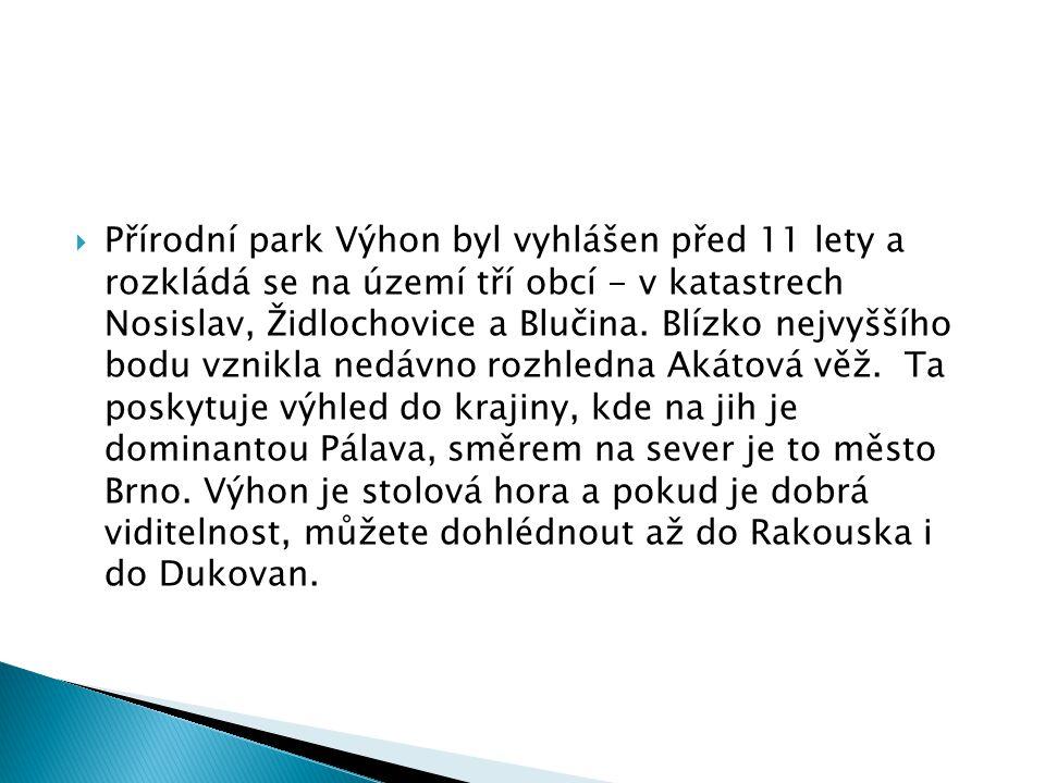  Přírodní park Výhon byl vyhlášen před 11 lety a rozkládá se na území tří obcí - v katastrech Nosislav, Židlochovice a Blučina. Blízko nejvyššího bod