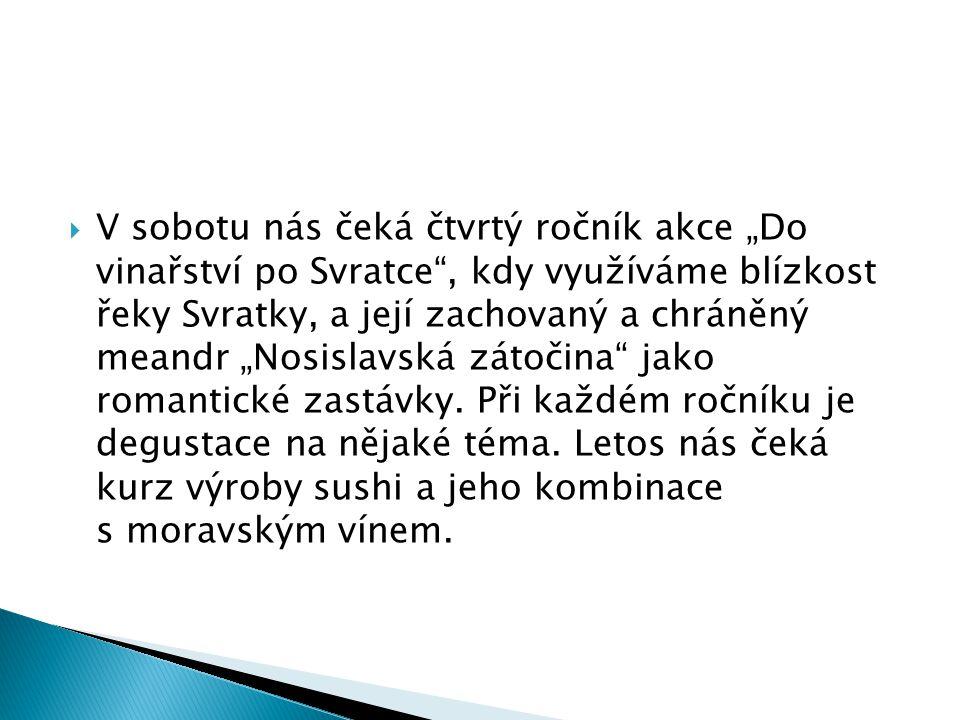 """ V sobotu nás čeká čtvrtý ročník akce """"Do vinařství po Svratce"""", kdy využíváme blízkost řeky Svratky, a její zachovaný a chráněný meandr """"Nosislavská"""