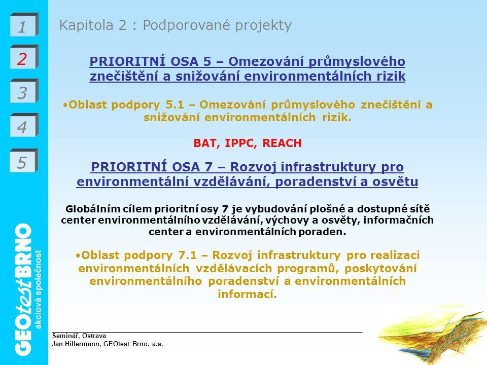 1 2 3 4 Kapitola 2 : Podporované projekty PRIORITNÍ OSA 5 – Omezování průmyslového znečištění a snižování environmentálních rizik Oblast podpory 5.1 – Omezování průmyslového znečištění a snižování environmentálních rizik.