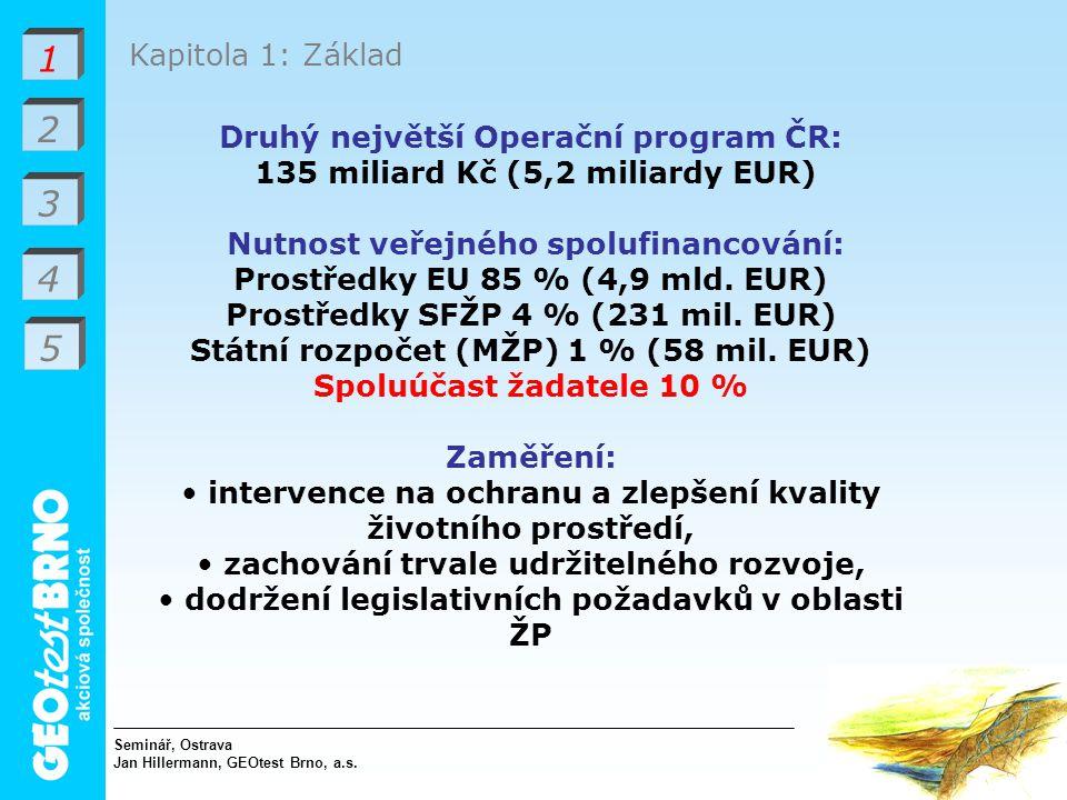 1 2 3 4 Kapitola 1: Základ Druhý největší Operační program ČR: 135 miliard Kč (5,2 miliardy EUR) Nutnost veřejného spolufinancování: Prostředky EU 85 % (4,9 mld.