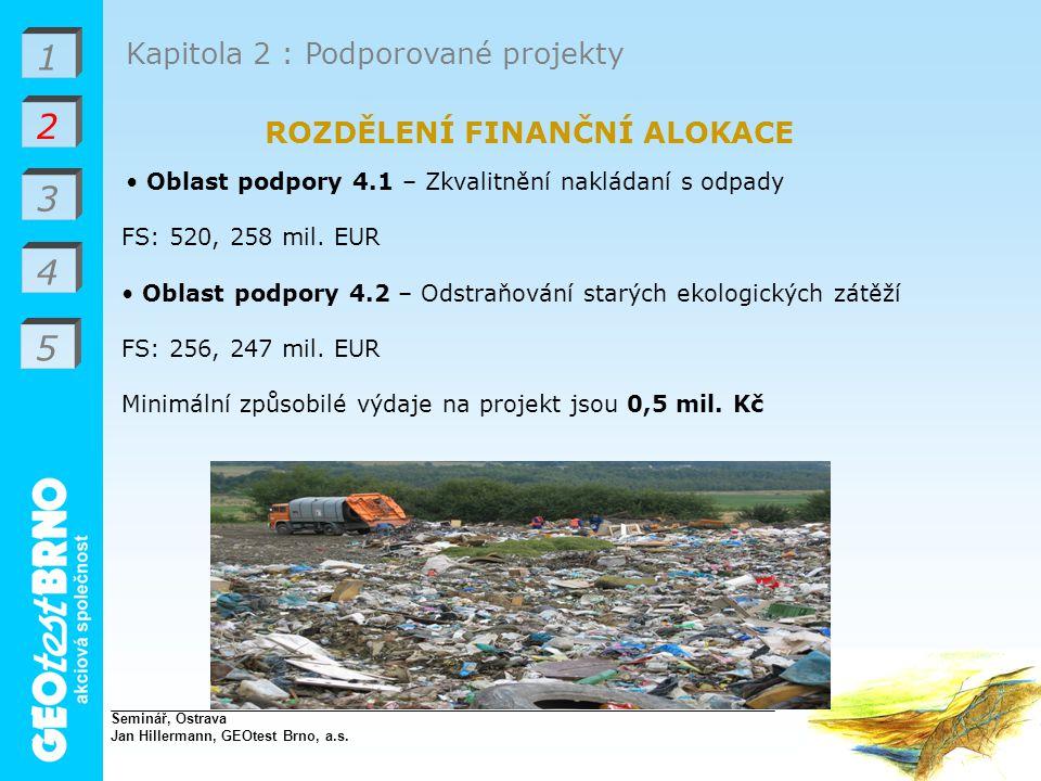 1 2 3 4 Kapitola 2 : Podporované projekty ROZDĚLENÍ FINANČNÍ ALOKACE Oblast podpory 4.1 – Zkvalitnění nakládaní s odpady FS: 520, 258 mil.