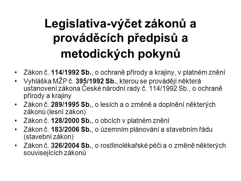 Legislativa-výčet zákonů a prováděcích předpisů a metodických pokynů Zákon č.